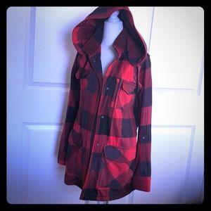 Hurley Hoodied Red Plaid Sweatshirt Coat